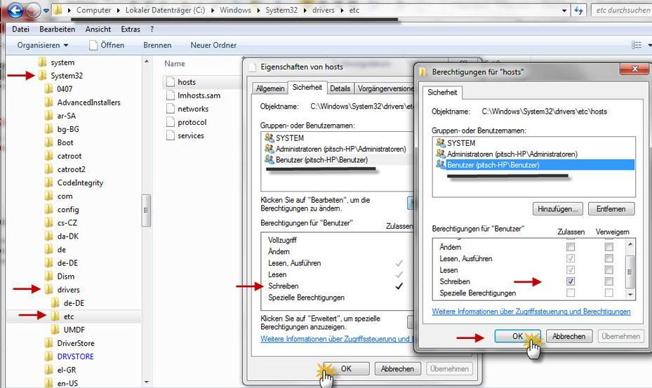 Прикрепленное изображение: изменения и запись в файле. (hosts).jpg